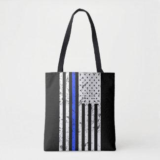 Blue Line fino - agente da polícia - bandeira Bolsa Tote