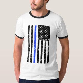 Blue Line fino - agente da polícia - bandeira Camiseta