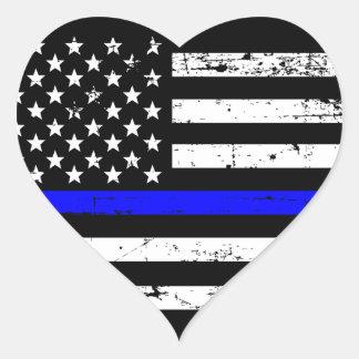 Blue Line fino embandeira a etiqueta do coração
