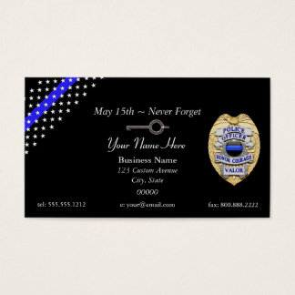 Blue Line fino policia a chave da algema do crachá Cartão De Visitas