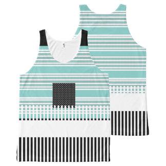Blue-Striped--Black-Summer-Fun-Women-Tank-Top Regata Com Estampa Completa
