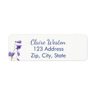 Bluebells no endereço do remetente branco etiqueta endereço de retorno