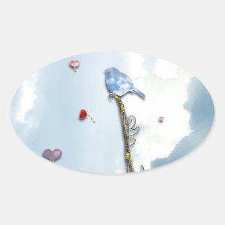Bluebird e corações adesivo oval