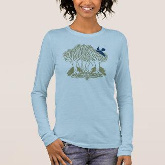 Bluebird nas árvores camiseta manga longa