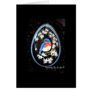 Bluebird no cartão vazio de árvore de Apple