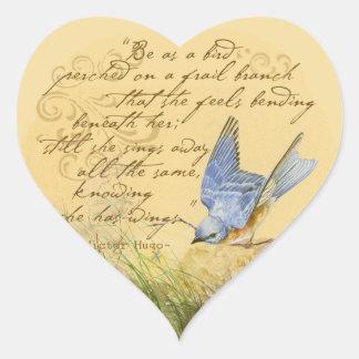 Bluebird no ramo & nas citações de Victor Hugo Adesivos De Corações