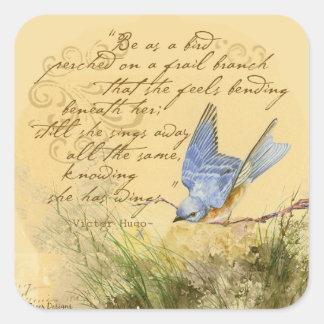 Bluebird no ramo & nas citações de Victor Hugo Adesivo Quadrado
