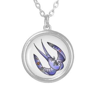bluebird tradicional tattooed morto colar banhado a prata