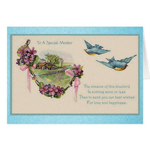 Bluebirds do dia das mães do vintage cartão