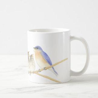 Bluebirds na caneca da aguarela