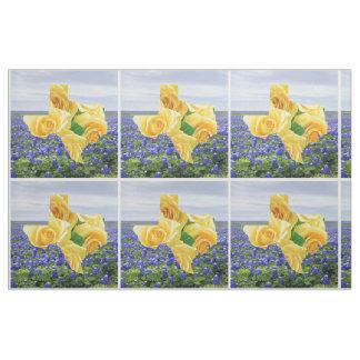 Bluebonnets de Texas e tecido do rosa amarelo