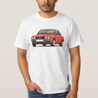 BMW E30 (3-series), vermelho metálico, ilustração Camisetas