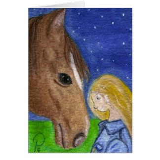 Boa noite meu cartão de nota do cavalo e da menina