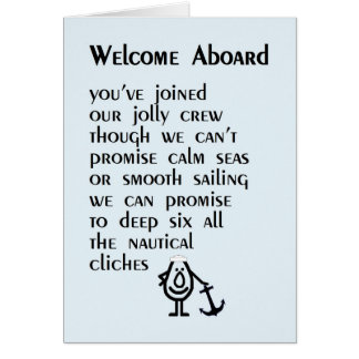 Boa vinda a bordo - um poema engraçado para seu cartão comemorativo