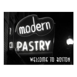 Boa vinda a Boston - néon noir Cartão Postal
