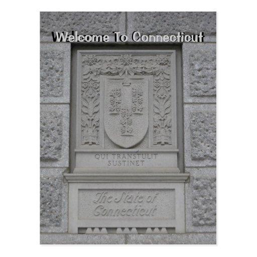 Boa vinda a Connecticut Cartao Postal
