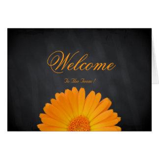 Boa vinda à flor da margarida da equipe cartão comemorativo