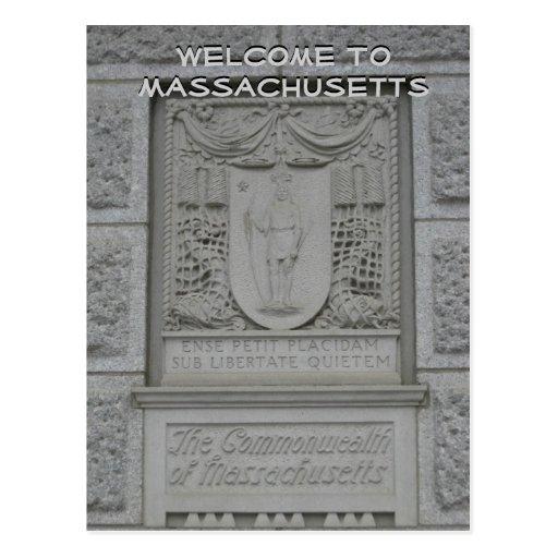 Boa vinda a Massachusetts Cartoes Postais