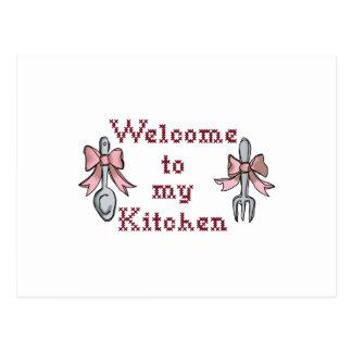 Boa vinda a minha cozinha cartão postal