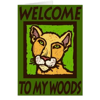 Boa vinda a minhas madeiras cartão comemorativo