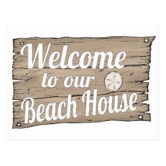 boa vinda a nossa casa de praia cartão postal