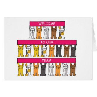 Boa vinda a nossa equipe, gatos dos desenhos cartão comemorativo