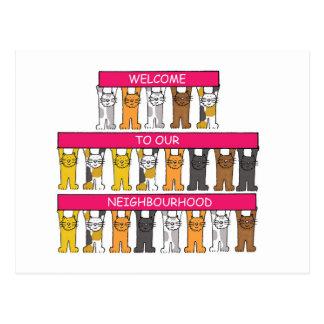 Boa vinda a nossa vizinhança, gatos dos desenhos cartão postal