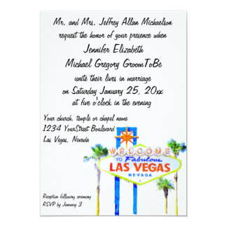 Boa vinda a nosso Las Vegas fabuloso que Wedding Convite 12.7 X 17.78cm