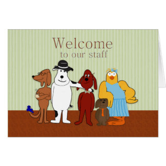 Boa vinda a nossos funcionarios, cómicos, animais cartão comemorativo