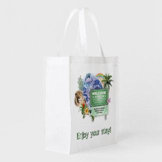 Boa vinda à terra do planeta sacola ecológica para supermercado