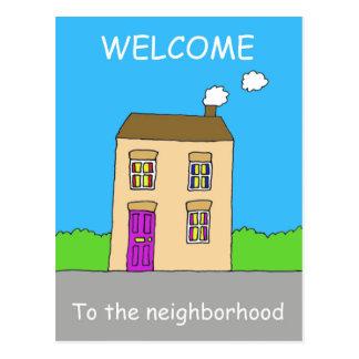 Boa vinda à vizinhança cartão postal