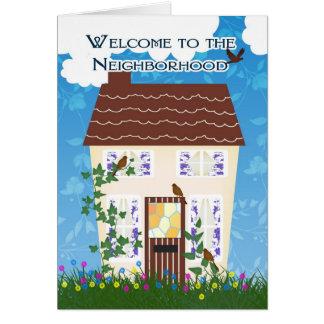 Boa vinda à vizinhança com casa e flores cartoes