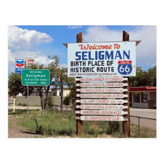 Boa vinda ao cartão da rota 66 de Seligman!