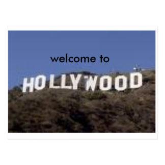 boa vinda ao cartão de hollywood cartoes postais
