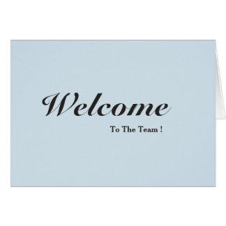 Boa vinda ao cartão do branco da equipe