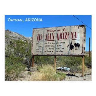 Boa vinda ao cartão do sinal do vintage de Oatman! Cartão Postal