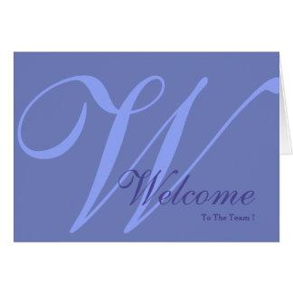 Boa vinda ao monograma da equipe cartão comemorativo