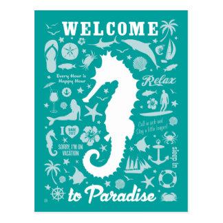 Boa vinda ao paraíso cartão postal