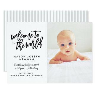 Boa vinda aos anúncios modernos do nascimento do convite 12.7 x 17.78cm