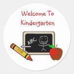 Boa vinda às etiquetas do jardim de infância adesivos redondos