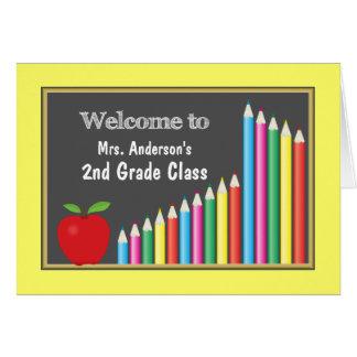 Boa vinda colorida de volta à classe cartão comemorativo