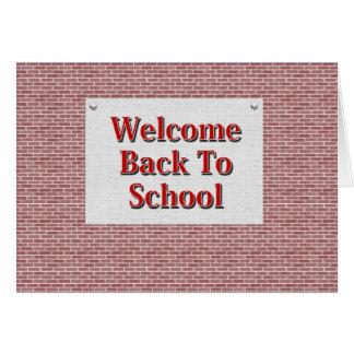 Boa vinda de volta à escola cartão