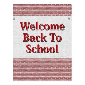 Boa vinda de volta à escola cartão postal