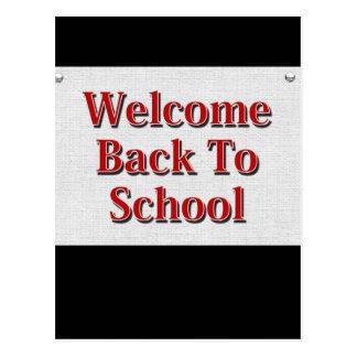 Boa vinda de volta à escola cartoes postais