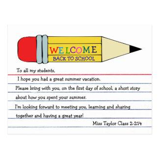Boa vinda de volta ao cartão do lápis da escola