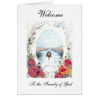 Boa vinda do Oval de Jesus Cartão