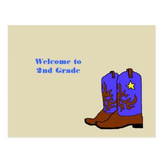 Boa vinda do professor das botas de vaqueiro para cartão postal