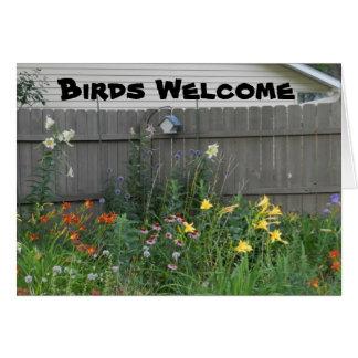 Boa vinda dos pássaros cartão