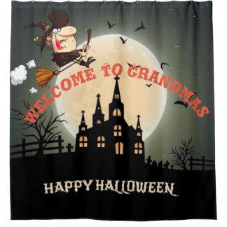 Boa vinda feliz do Dia das Bruxas às avós Cortinas Para Chuveiro