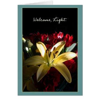 Boa vinda, luz/Bienvenida, luz Cartão Comemorativo